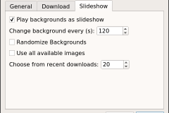 Software slideshow tab in preferences in Linux Debian (mate)